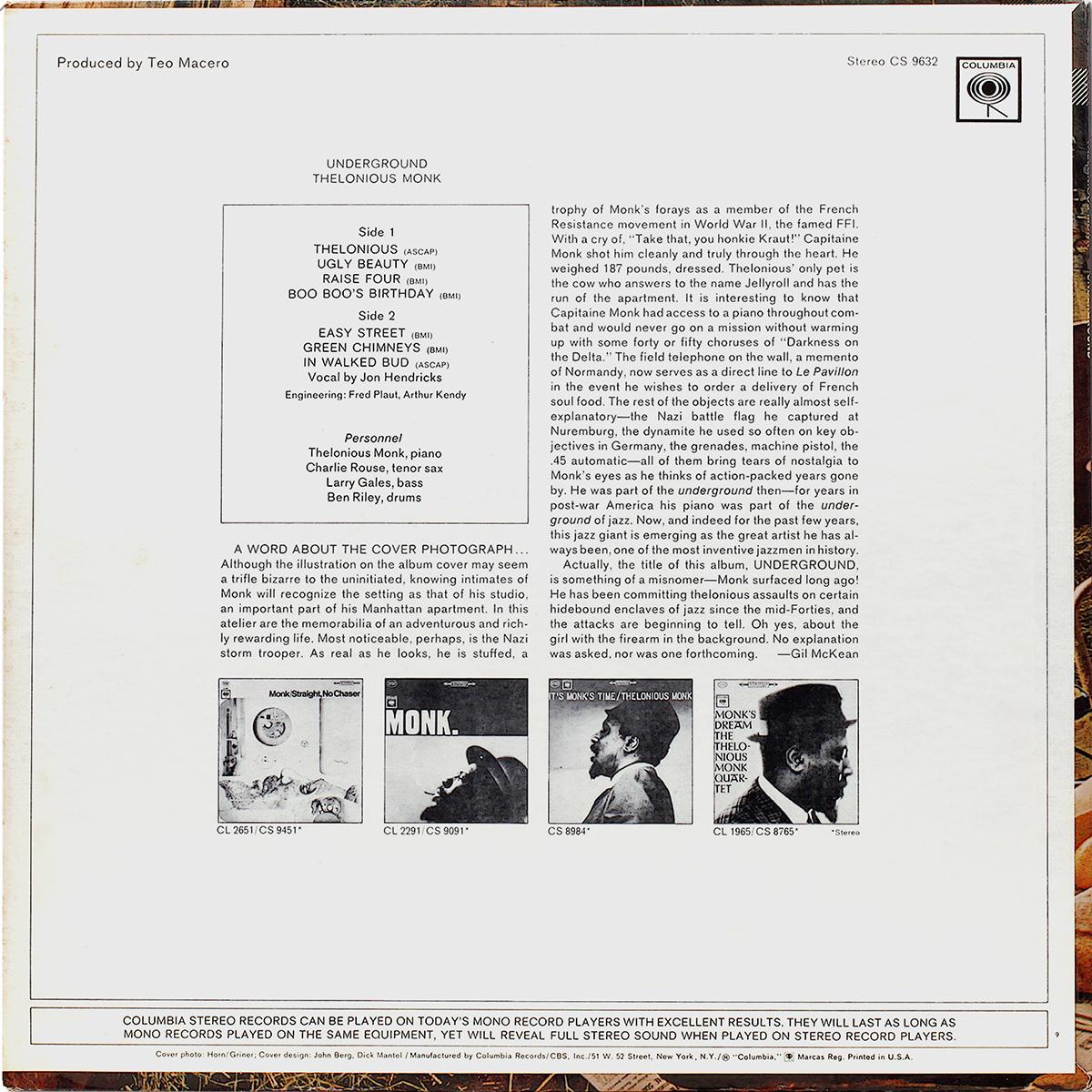 Verso de l'album Underground de Thelonious Monk