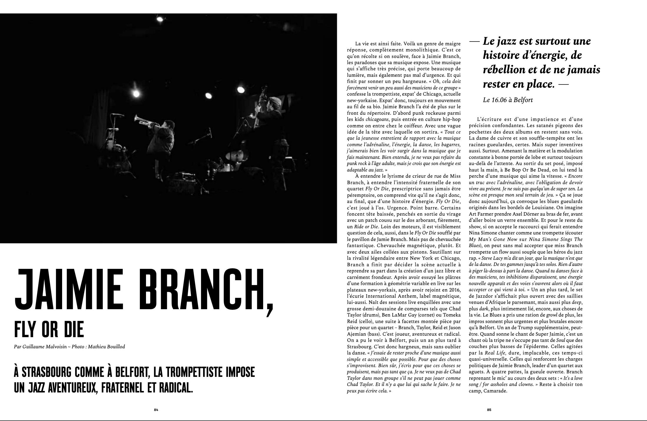 Portrait de Jaimie Branch paru dans les colonnes du magazine Novo #57.