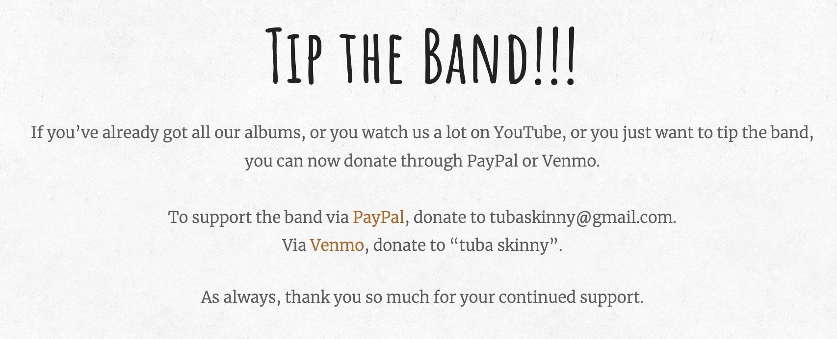 Tip The Band – capture écran du site web de Tuba Skinny