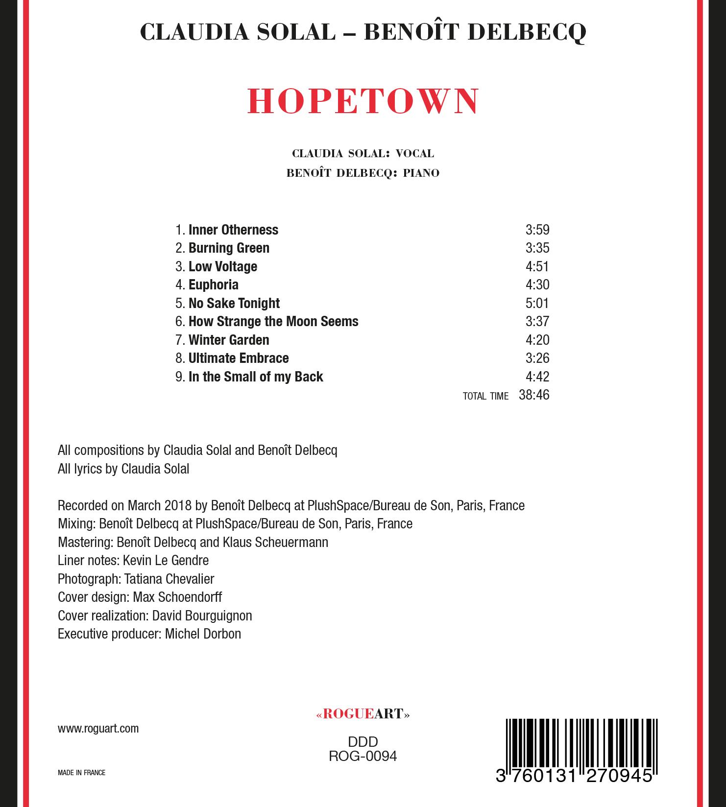 Verso de la pochette d'album de Hopetown - Claudia Solal & Benoît Delbecq