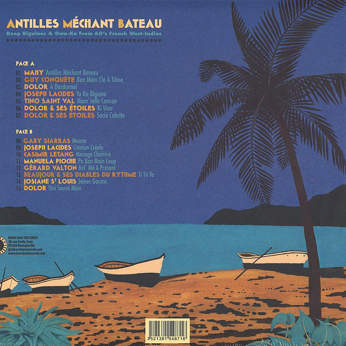 Verso de la pochette d'album Antilles Méchant Bateau