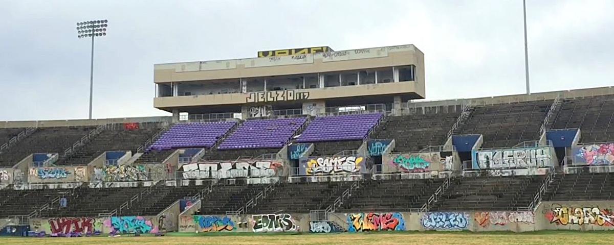 image du Morris Brown stadium à l'abandon