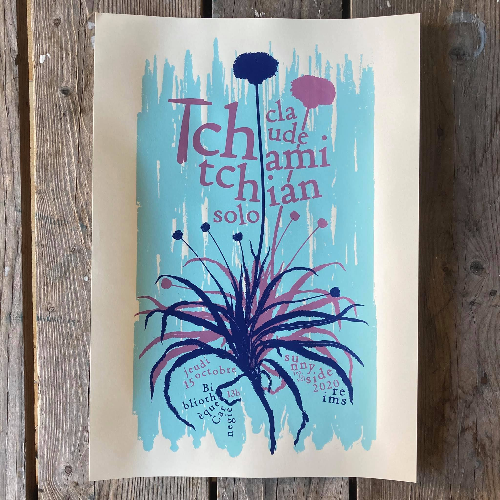Affiche de Yann Spenser pour le solo de Claude Tchamitchian